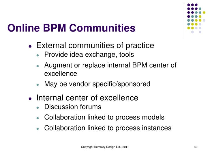 Online BPM Communities   l   External communities of practice       l   Provide idea exchange, tools       l   Augment or ...