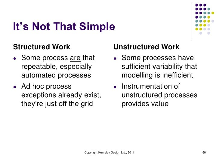 It's Not That SimpleStructured Work                          Unstructured Workl Some process are that                  l S...