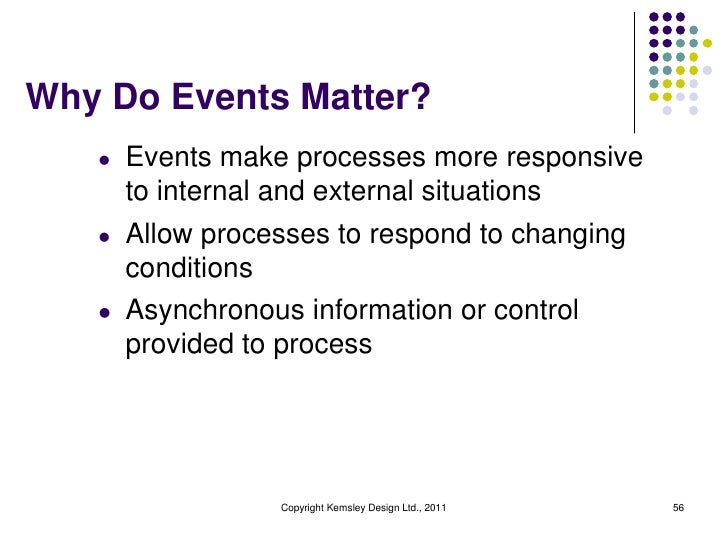 Why Do Events Matter?   l   Events make processes more responsive       to internal and external situations   l   Allow pr...