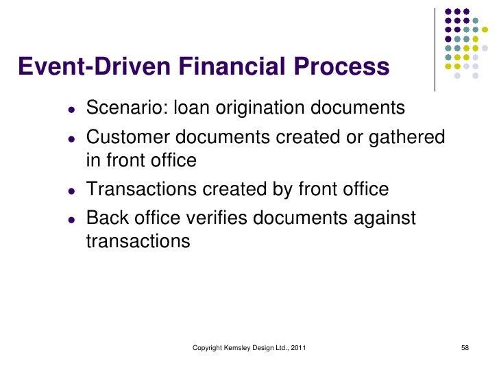 Event-Driven Financial Process    l   Scenario: loan origination documents    l   Customer documents created or gathered  ...