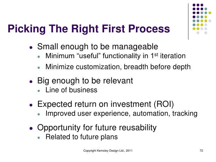 """Picking The Right First Process    l   Small enough to be manageable        l   Minimum """"useful"""" functionality in 1st iter..."""