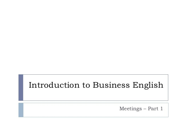 Introduction to Business English Meetings – Part 1
