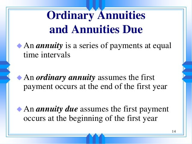 annuity due and ordinary relationship marketing