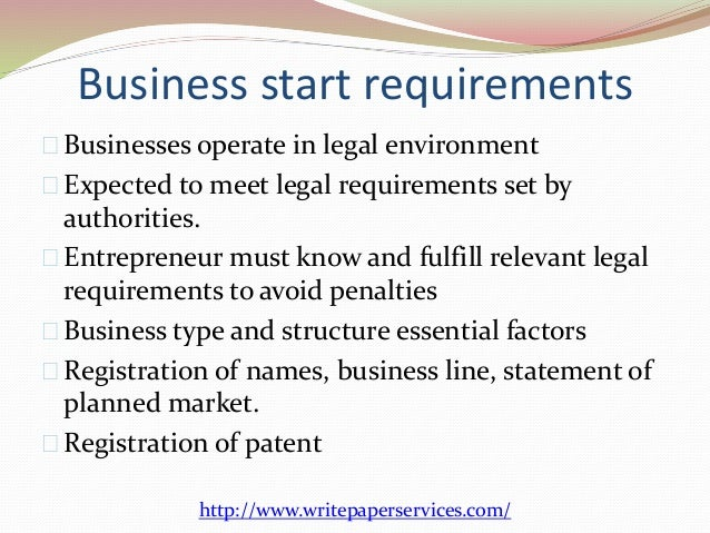 How the business deals with legal factors