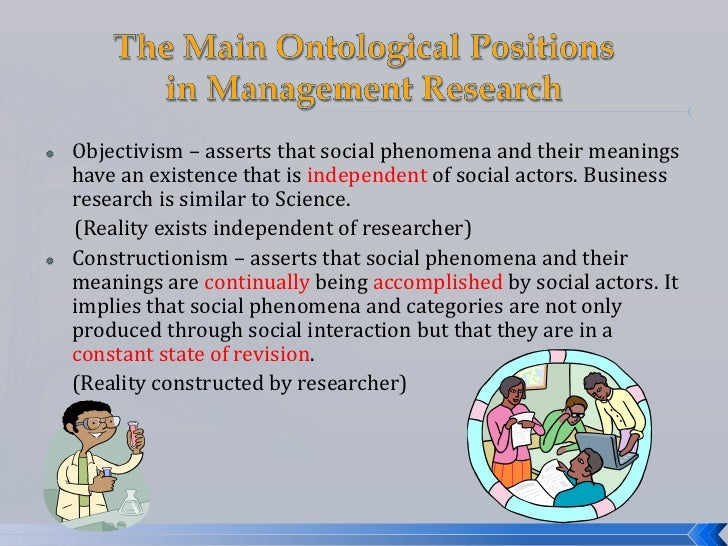    Objectivism – asserts that social phenomena and their meanings    have an existence that is independent of social acto...