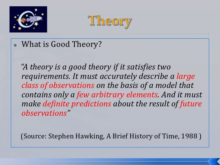 """   What is Good Theory?    """"A theory is a good theory if it satisfies two    requirements. It must accurately describe a ..."""