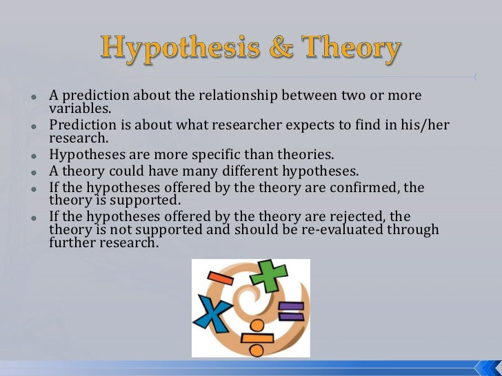    A prediction about the relationship between two or more    variables.   Prediction is about what researcher expects t...