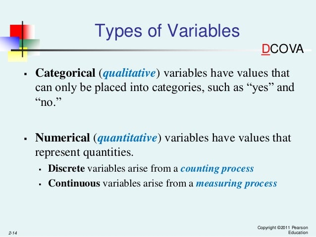 types of variables in statistics A variable definition specifies a data type, and contains a list of one or more variables of that type as follows − type variable_list here, type must be a valid c++ data type including char, w_char, int, float, double, bool or any user-defined object, etc, and variable_list may consist of one or more identifier names separated by commas.