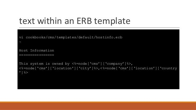 Introduction to chef for Chef template variables