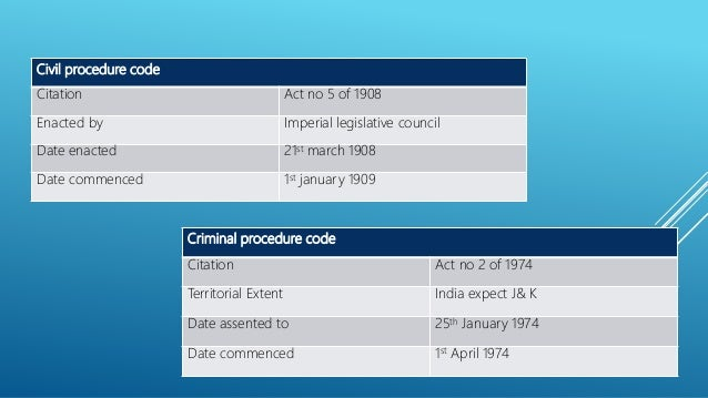criminal procedure code The code of civil procedure, 1908 (act no 5 of 1908) an act to consolidate and amend the laws relating to the procedure of the courts of civil judicature.