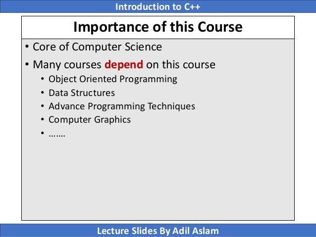Introduction To C++ Lecture No  1