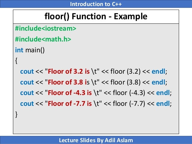 C floor function example thefloors co for Floor function example