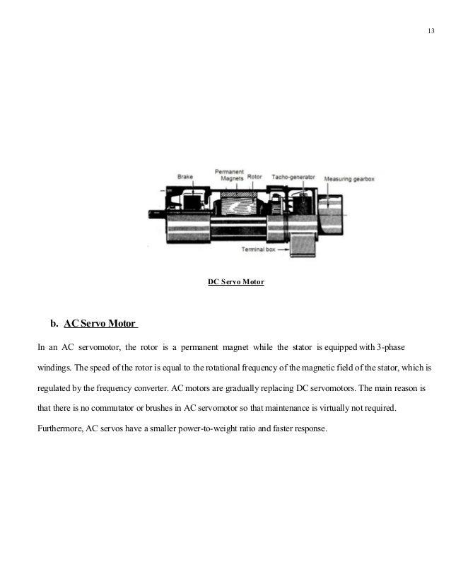 13                                                 DC Servo Motor   b. AC Servo MotorIn an AC servomotor, the rotor is a p...