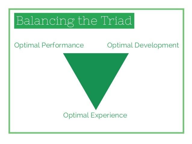Balancing the Triad Optimal Performance Optimal Experience Optimal Development