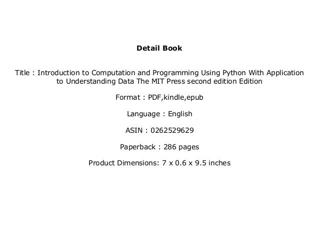 ((download_[p.d.f]))@@ Introduction to Computation and Programming Using Python With Application to Understanding Data The...