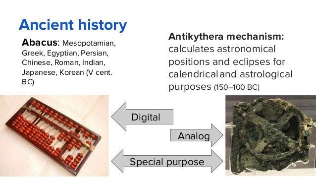 Ancient history Abacus: Mesopotamian, Greek, Egyptian, Persian, Chinese, Roman, Indian, Japanese, Korean (V cent. BC) Anti...