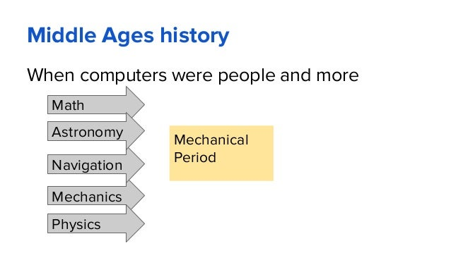 Middle Ages history When computers were people and more Mechanical Period Math Mechanics Navigation Physics Astronomy