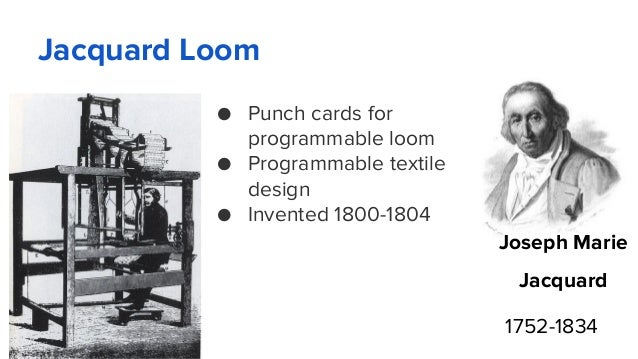 Jacquard Loom ● Punch cards for programmable loom ● Programmable textile design ● Invented 1800-1804 Joseph Marie Jacquard...