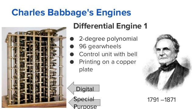 Charles Babbage's Engines 1791 –1871 Differential Engine 1 ● 2-degree polynomial ● 96 gearwheels ● Control unit with bell ...
