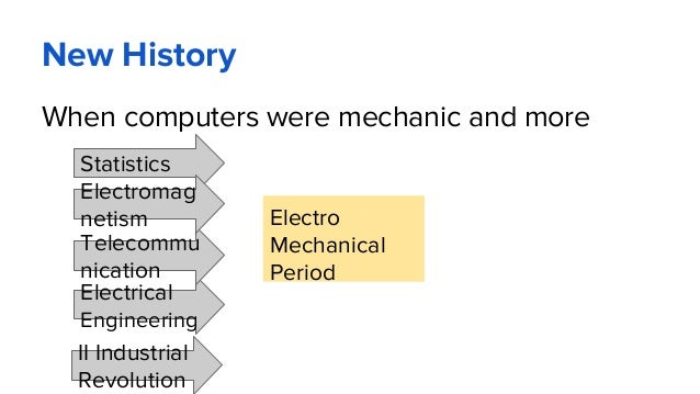 New History When computers were mechanic and more Electro Mechanical Period Statistics Electrical Engineering Telecommu ni...