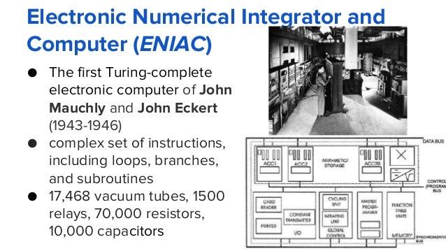 Electronic Numerical Integrator and Computer (ENIAC) ● The first Turing-complete electronic computer of John Mauchly and J...