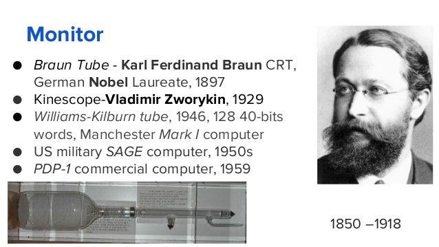 Monitor ● Braun Tube - Karl Ferdinand Braun CRT, German Nobel Laureate, 1897 ● Kinescope-Vladimir Zworykin, 1929 ● William...