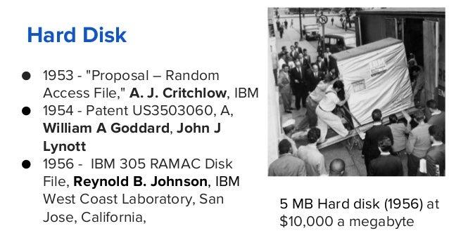"Hard Disk ● 1953 - ""Proposal – Random Access File,"" A. J. Critchlow, IBM ● 1954 - Patent US3503060, A, William A Goddard, ..."