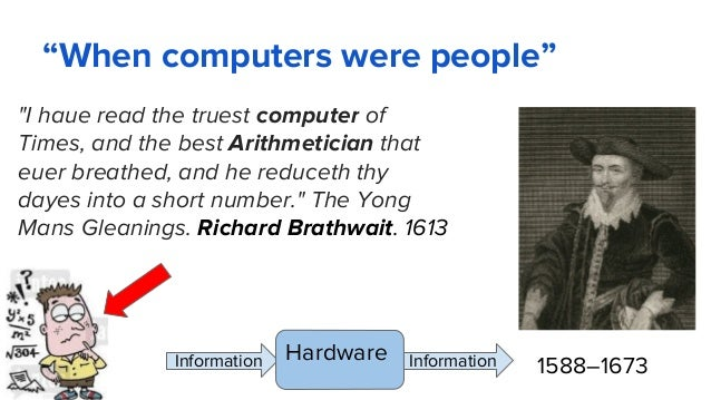 """""""When computers were people"""" """"I haue read the truest computer of Times, and the best Arithmetician that euer breathed, and..."""