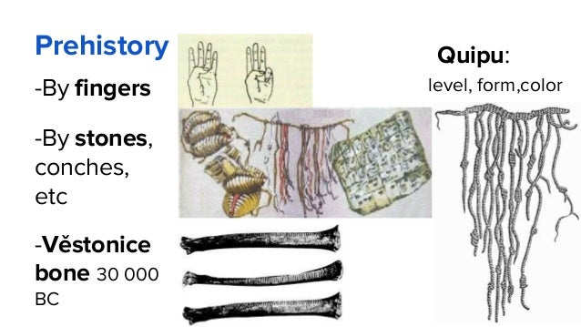 Prehistory -By fingers -By stones, conches, etc -Věstonice bone 30 000 BC Quipu: level, form,color