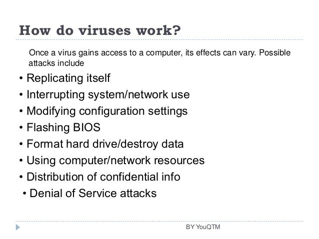 an introduction to the treaatment of computer virus A computer virus is a type of malicious software program (malware) that, when executed, replicates itself by modifying other computer programes and inserting its own code infected computer programs can include, as well, data files, or the boot.