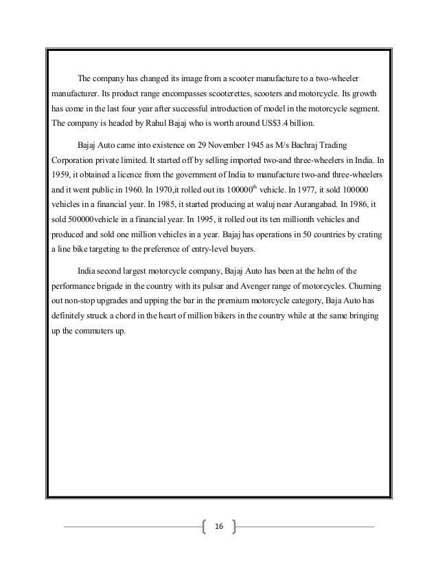 Comprehensive study of three wheeler a bajaj