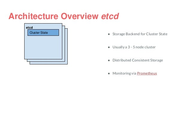 Architecture Overview etcd etcd Cluster State ● Storage Backend for Cluster State ● Usually a 3 - 5 node cluster ● Distrib...