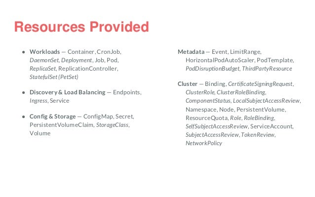 Resources Provided ● Workloads — Container, CronJob, DaemonSet, Deployment, Job, Pod, ReplicaSet, ReplicationController, S...