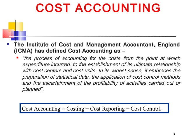introduction to cost and management accounting notes essay Cost accounting is the process of recording, classifying, analyzing, summarizing,  and allocating  selected accounts[show]  cost accounting provides the  detailed cost information that management needs to control current operations   accounting systems, introduction to cost accounting, ethics and relationship  to gaap.