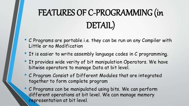 features of c in programming Introduction to programming using c++ dr mohamed khafagy           standard input/output cout - the standard output stream output operator – powerpoint ppt presentation.