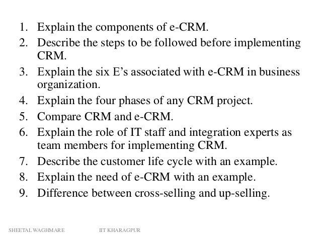 introduction to e crm E) crm systems may offer automation (drip email, birthday greetings, reports and more) f) crm offer workflows such as lead distribution, follow up, activities, g) crm.