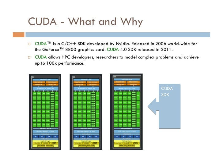 CUDA - What and Why   CUDA™ is a C/C++ SDK developed by Nvidia. Released in 2006 world-wide for     the GeForce™ 8800 gr...