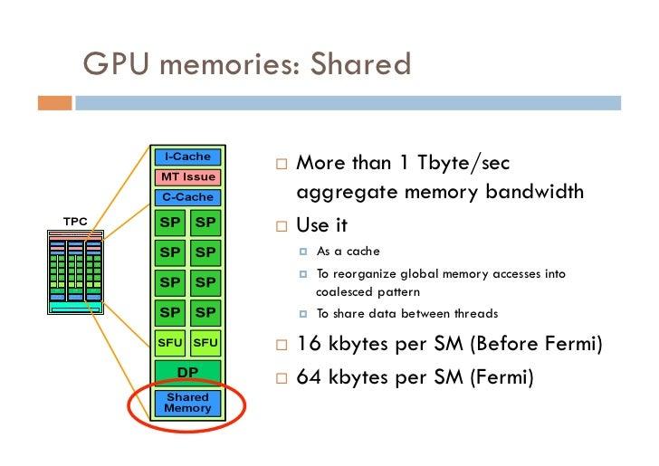GPU memories: Shared            More than 1 Tbyte/sec              aggregate memory bandwidth            Use it       ...