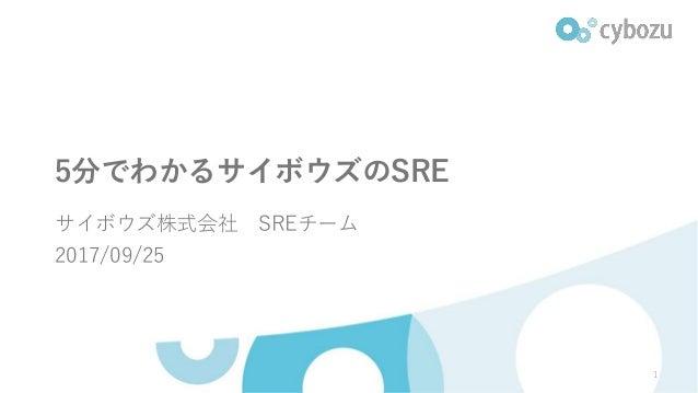5分でわかるサイボウズのSRE サイボウズ株式会社 SREチーム 2017/09/25 1