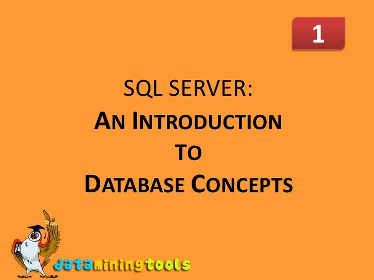1<br />SQL SERVER: AN INTRODUCTION TO DATABASE CONCEPTS<br />