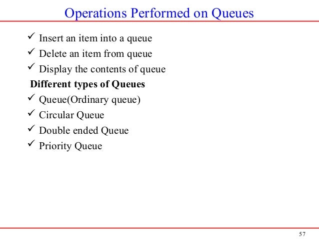 57 Operations Performed on Queues  Insert an item into a queue  Delete an item from queue  Display the contents of queu...