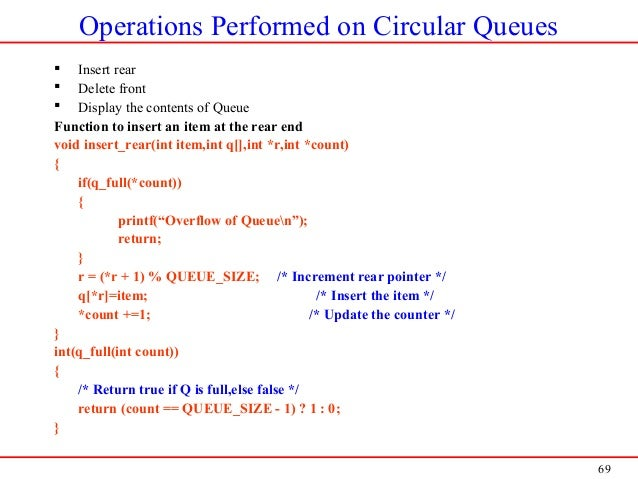 69 Operations Performed on Circular Queues  Insert rear  Delete front  Display the contents of Queue Function to insert...