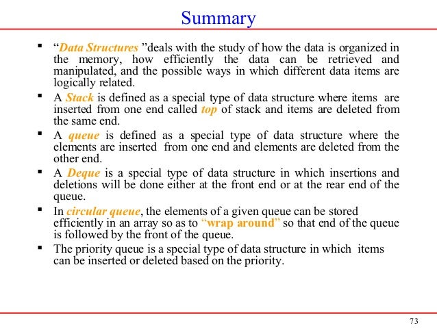 """73 Summary  """"Data Structures """"deals with the study of how the data is organized in the memory, how efficiently the data c..."""