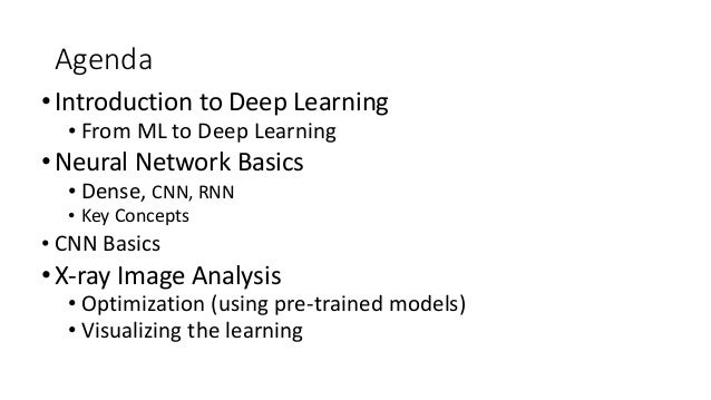 Agenda •Introduction to Deep Learning • From ML to Deep Learning •Neural Network Basics • Dense, CNN, RNN • Key Concepts •...