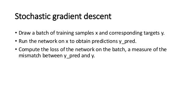 Stochastic gradient descent • Compute the gradient of the loss with regard to the network's parameters (a backward pass). ...