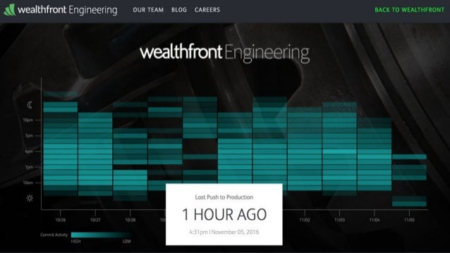 Wealthfront (USA) ● 2.5B$ of assets under management ● Lean Startup approach ● Developers push to production on first day ...