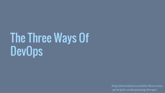 The Three Ways Of DevOps http://itrevolution.com/the-three-ways -principles-underpinning-devops/
