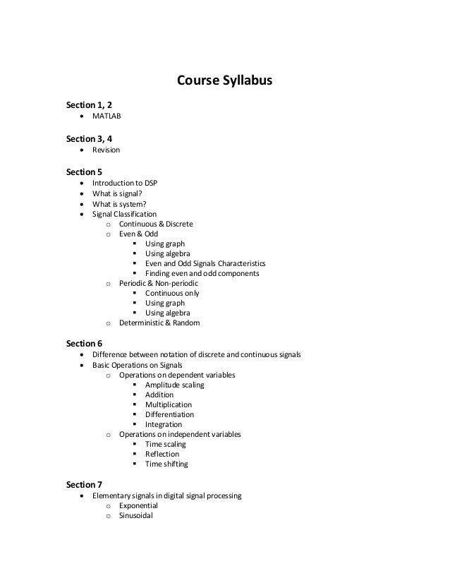 Introduction to Digital Signal Processing (DSP) - Course Notes