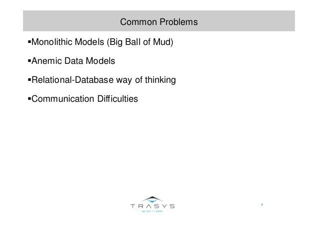 4 Common Problems Monolithic Models (Big Ball of Mud) Anemic Data Models Relational-Database way of thinking Communication...