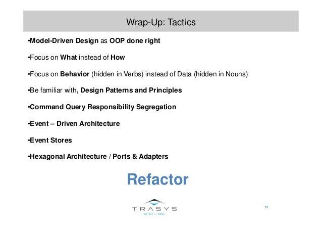 76 Wrap-Up: Tactics •Model-Driven Design as OOP done right •Focus on What instead of How •Focus on Behavior (hidden in Ver...